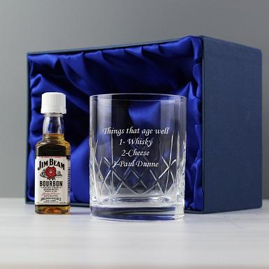 Personalised Crystal Glass & Bourbon Whisky Miniature Set