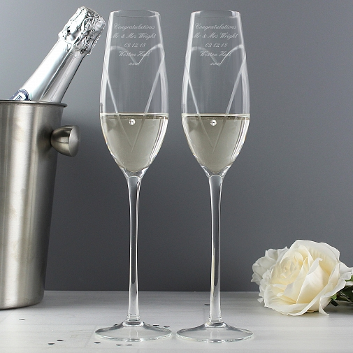 Personalised Hand Cut Heart Pair of Flutes