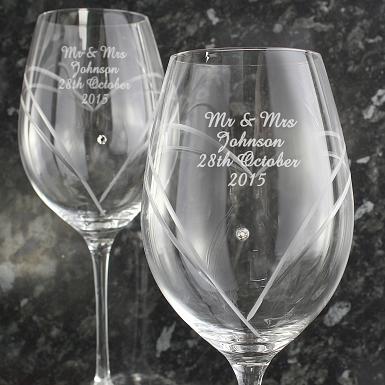 Personalised Hand Cut Diamante Heart Wine Glasses with Swarovski Elements