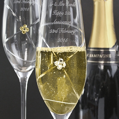 Personalised Infinity Pair of Flutes with Gold Swarovski Elements
