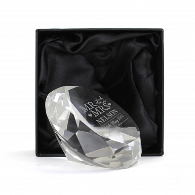 Personalised Mr & Mrs Diamond Paperweight