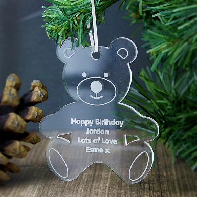 Personalised Acrylic Teddy Bear Decoration