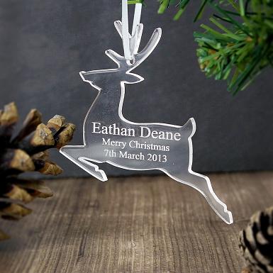Personalised Acrylic Reindeer Decoration