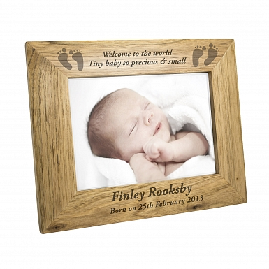 Personalised 5x7 Baby Feet Wooden Photo Frame