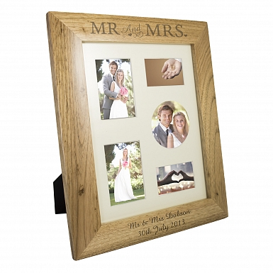 Personalised Mr & Mrs 10x8 Wooden Photo Frame