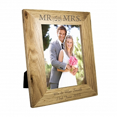 Personalised 5x7 Mr & Mrs Wooden Photo Frame