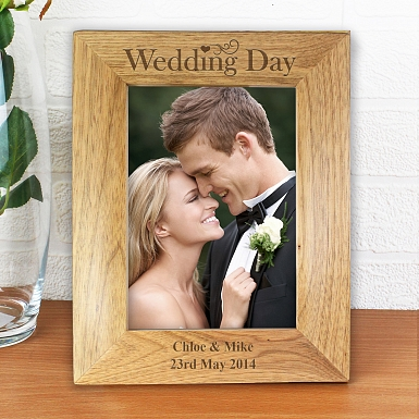 Personalised Wedding Day 5x7 Wooden Photo Frame
