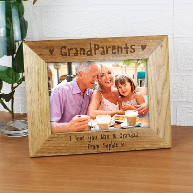 Personalised 5x7 Grandparents Wooden Photo Frame