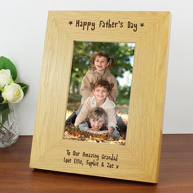 Personalised Oak Finish 6x4 Happy Father's Day Photo Frame