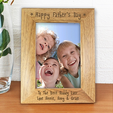 Personalised 5x7 Happy Father's Day Wooden Photo Frame