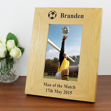 Personalised Oak Finish 6x4 Football Photo Frame