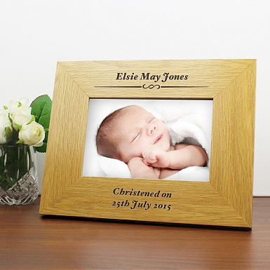 Personalised Oak Finish 6x4 Formal Landscape Photo Frame