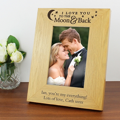 Personalised Oak Finish 6x4 To the Moon and Back Photo Frame