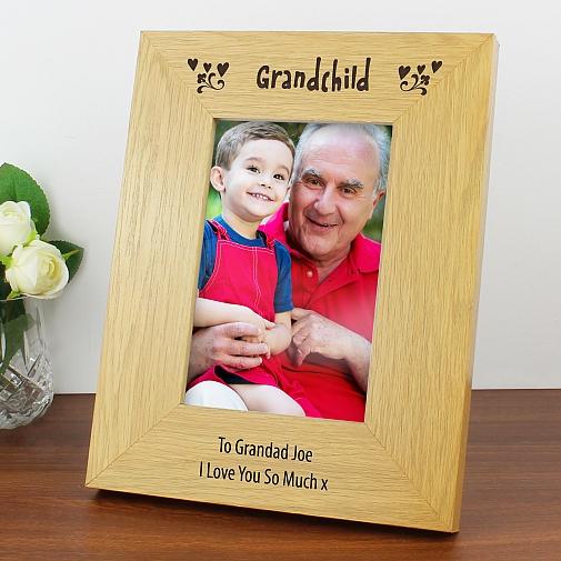 Personalised Oak Finish 6x4 Grandchild Photo Frame