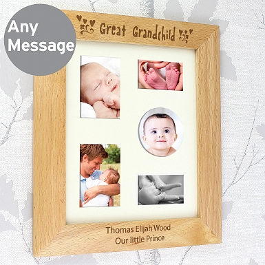 Personalised 10x8 Great Grandchild Wooden Photo Frame