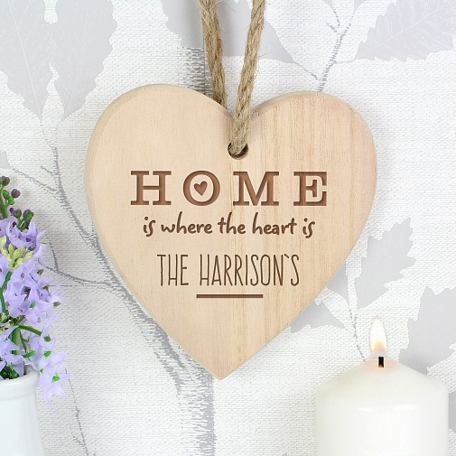 Personalised Home is Where Chunky Wooden Heart Decoration UK [United Kingdom]