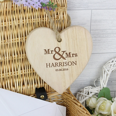 Personalised Mr & Mrs Chunky Wooden Heart Decoration UK [United Kingdom]