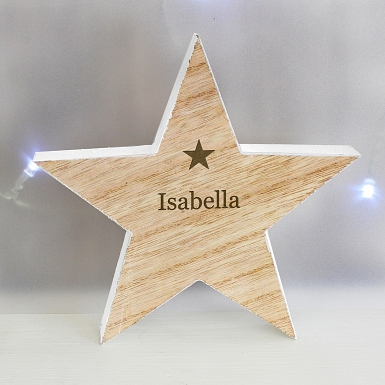 Personalised Any Name Rustic Wooden Star Decoration
