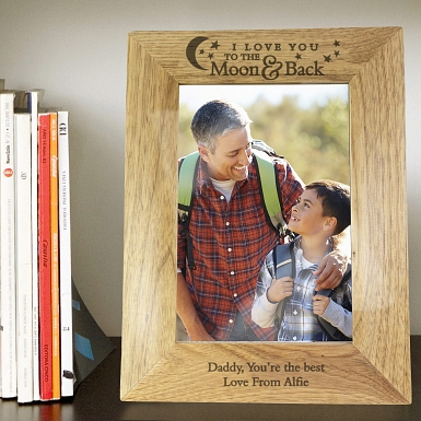 Personalised To the Moon and Back 5x7 Wooden Photo Frame