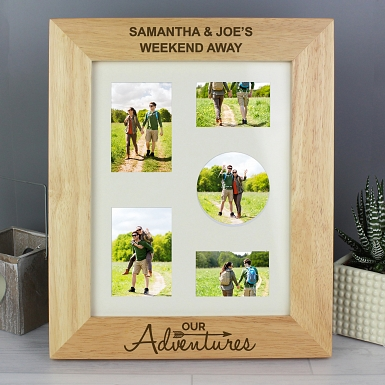 Personalised Our Adventures 10x8 Wooden Photo Frame
