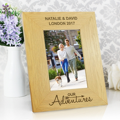 Personalised Our Adventures 6x4 Wooden Photo Frame