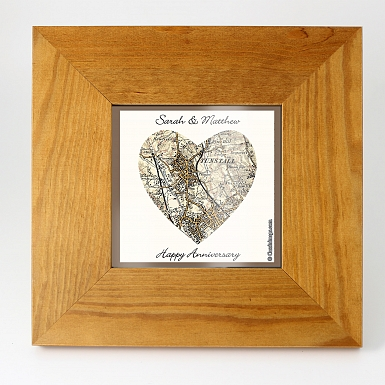 Personalised Postcode Map 5x7 Photo Frame - Revised New