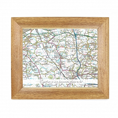 Personalised Postcode Map Wooden 10x8 Photo Frame - Present Day With Message