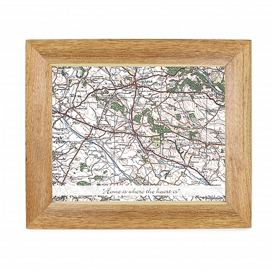 Personalised Postcode Map Wooden 10x8 Photo Frame - Popular Edition With Message