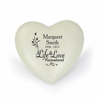Personalised Life & Love Heart Memorial