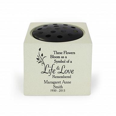 Personalised Life & Love Memorial Vase