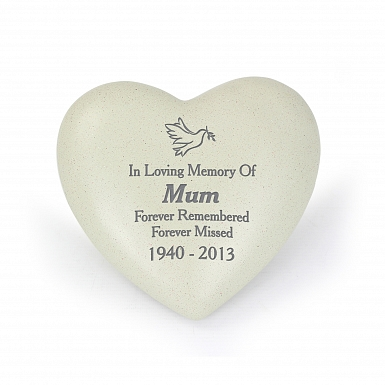 Personalised Dove Heart Memorial