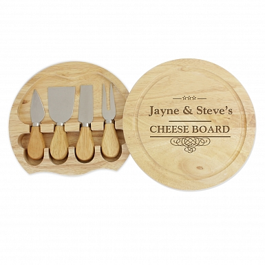 Personalised Decorative Swirl Large Cheese Board with Cheese Knives