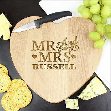Personalised Mr & Mrs Heart Chopping Board