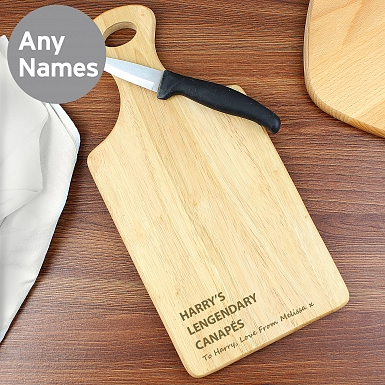Personalised Free Text Large Paddle Chopping Board