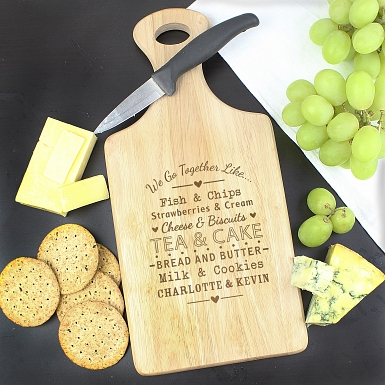 Personalised We Go Together Like... Large Paddle Chopping Board