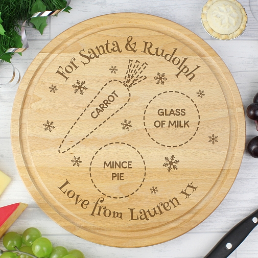 Personalised Christmas Eve Round Treats Board