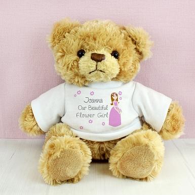 Personalised Fabulous Flower Girl Message Bear