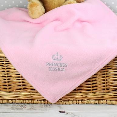 Personalised Pink Princess Baby Blanket