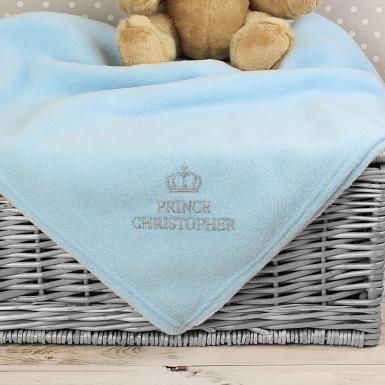 Personalised Blue Prince Baby Blanket