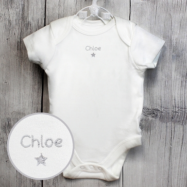 Personalised Silver Star 6-9 Months Baby Vest