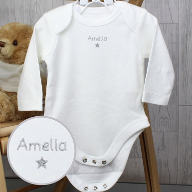 Personalised Silver Star 9-12 Months Long Sleeved Baby Vest