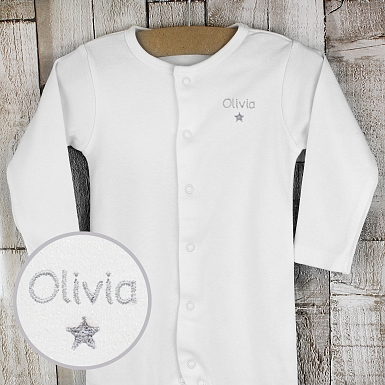 Personalised Silver Star 0-3 Months Babygrow