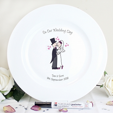 Personalised Cartoon Couple Message Plate