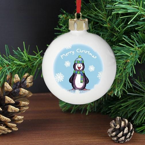 Personalised Snow Scene Penguin Bauble