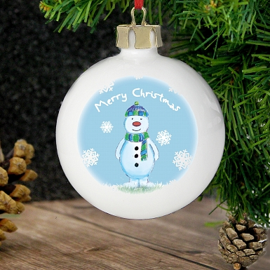 Personalised Snow Scene Snowman Bauble