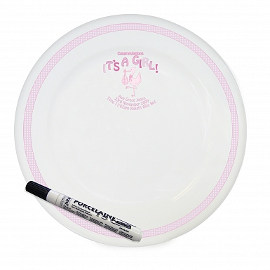 Personalised Stork It's a Girl Message Plate