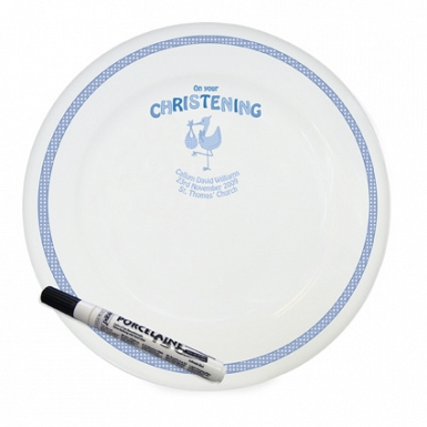 Personalised Stork Blue Christening Message Plate