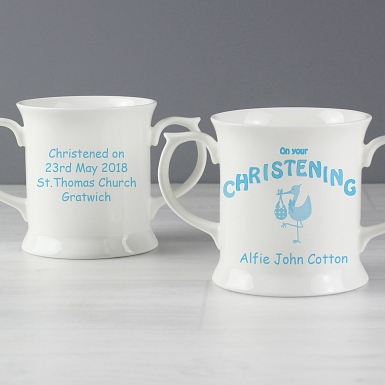 Personalised Stork Blue Christening Loving Mug