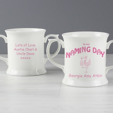 Personalised Stork Pink Naming Day Loving Mug
