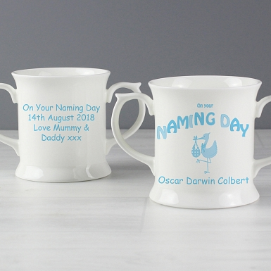 Personalised Stork Blue Naming Day Loving Mug